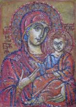 Jungfrau Maria mit Kind (Virgin Mary with Child), 70x50cm, Pastellkreide auf Papier, 600€