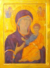 Hl. Jungfrau mit Kind (Hl. Virgin with Child), 80x60cm, Eitempera auf Holz, 1200€